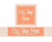 Etsy Shop Banners - Etsy Banners - Geometric Etsy Banners - Peach Etsy Shop Banners - Etsy Banner Sets - 2 Piece - 5-16