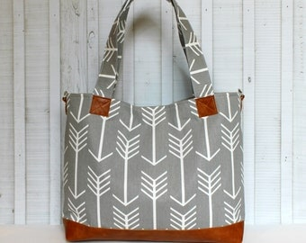 Grey Arrows with Vegan Leather - Tote Bag /  Diaper Bag -  Medium / Large Bag