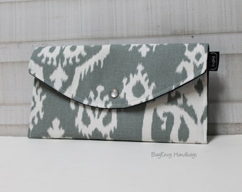 Grey Ikat - with Navy Lining - Full Size Clutch