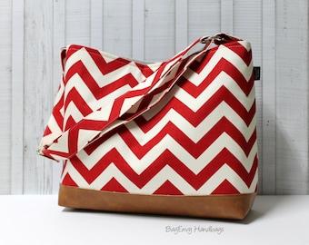 READY To SHIP - Flash SALE - Red Chevron with Vegan Leather - Messenger Tote Bag /  Diaper  Bag - Medium / Large Bag