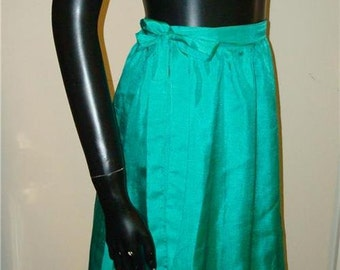 wrap around skirt ULLA by VICKI COOPER slinky kelly green L 1960's