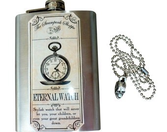 Steampunk Flask Whiskey pocket watch gear Goth Victorian 8oz Stainless necklce  ----RARE