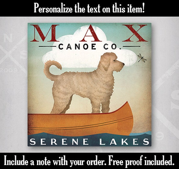 DOODLE Labradoodle Goldendoodle Canoe Company CUSTOM Personalized Gallery Wrapped Canvas