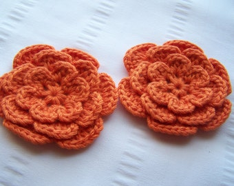 Flower crochet motif 3 inch bamboo orange