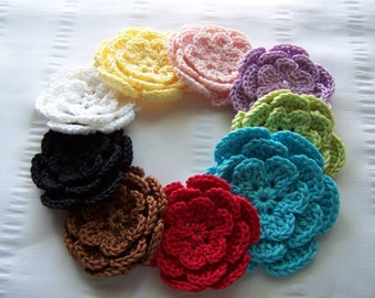 Crocheted flower 3 inch cotton set of 9 rainbow colors #1