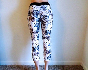 Here Kitty Kitty Kitty • Cat Face Leggings •  Capri Pants • Small Medium Large XL 1X 2X • Custom