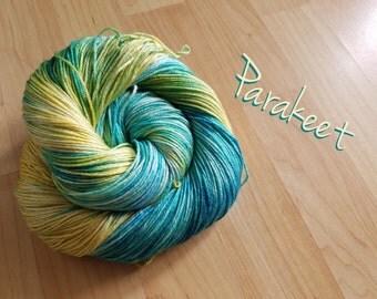 "Handpainted hand dyed yarn superwash merino wool sock yarn silk yarn swm ""Parakeet"" blue, green, yellow variegated yarn"