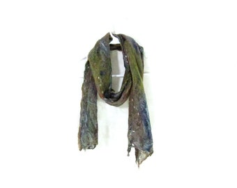 Cobweb Felted Scarf Wool Scarf Gifs for Her Winter Scarf Long Scarf Womens Scarf Winter Accessory Lightweight Scarf in Blue Brown Green OOAK