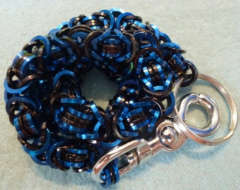 New Style Blue and Black Biker Wallet Chain - Byzantine with squared off rings