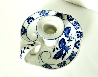 Vintage Blue Onion Pattern - Seymour Mann Candlestick Holder - Vienna Woods Fine China - Made in Japan