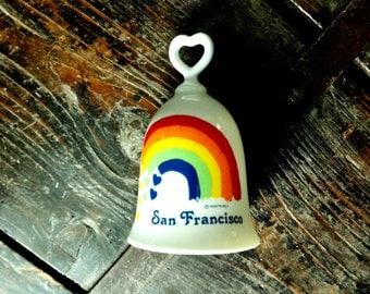Vintage San Francisco Rainbow Heart Collectible Souvenir Bell