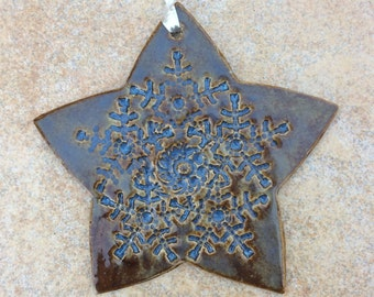 Ceramic Holiday Ornament Lace Clay Stoneware Christmas Star Blue Brown 4 inch