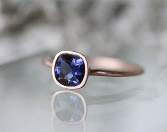 Genuine Iolite 14K Rose Gold Ring, Gemstone RIng, Cushion Shape Ring, Eco Friendly, Engagement Ring, Stacking Ring - Made To Order