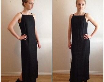 Summer Sale 90s Linen Dress, Black Maxi Dress, Black Linen, Halter Dress, Minimalist, Sleeveless Dress, Grunge, Goth, Racer Back Dress, Norm