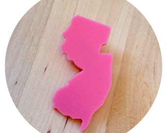 NJ Bubblegum Pink Lasercut Acrylic State Brooch Pin - New Jersey Lapel Pin