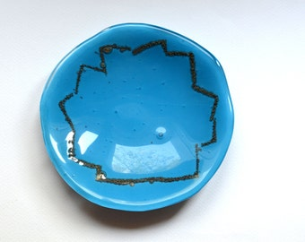 Egyptian Blue and Gold Glass platter- modern home decor dish, sophisticated desert platter