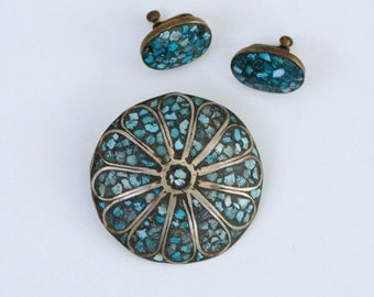 1960s India inlay turquoise and brass brooch earring set / 60s vintage turquoise ..