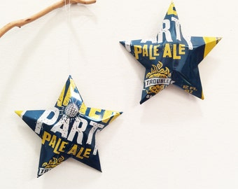 Trouble Brewing, After Party Pale Ale Beer Stars, Ornaments, Aluminum Can, Upcycled Beer Can