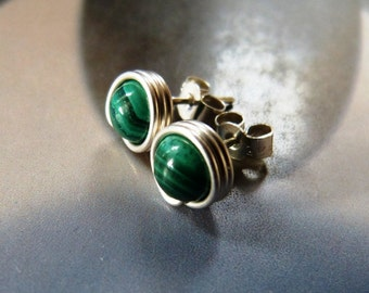 Malachite earstuds, silver post earrings, handmade jewelry, wire wrapped studs, green gemstone, casual wear, everyday wear, affordable gift