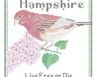 New Hampshire State Bird, Flower and Motto Cross Stitch Pattern PDF