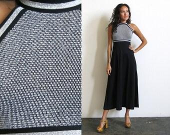70s Metallic Silver Dress / Black Lurex Evening Dress / High Neck Maxi Dress Sz XS