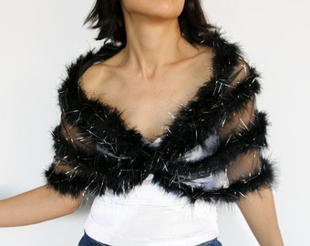 Black Feather Cape Silver Shawl Special Occasion Bolero Shrug Shoulder Wrap Evening Dress Cover Mother of Bride Wedding Fashion Accessory