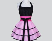 Flirty Chic Apron / Pink and White Houndstooth Check Sexy Hostess Apron
