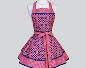 Ruffled Retro Apron . Cute Full Kitchen Ruffled Woman Apron in Modern Coral and Navy Weave and Diamonds Personalize or M
