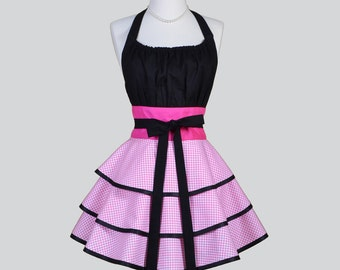 Flirty Chic Womens Aprons / Cute Retro Kitchen Cooking Apron Vintage Pink and White Houndstooth Handmade Sexy Hostess Vintage Womans Apron