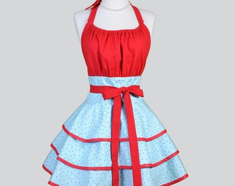 Flirty Chic Apron . Aqua and Red Wallflowers Vintage Style Retro Womens Kitchen Apron