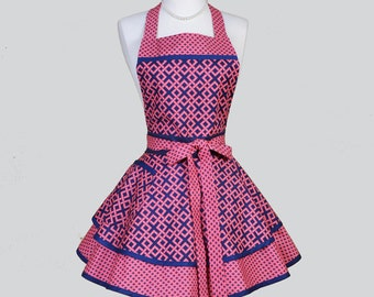 Ruffled Retro Apron . Modern Pink and Navy Blue Weave and Diamonds Retro Kitchen Apron Ideal to Personalize or Monogram
