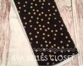 Black and Gold Dot Burp Cloth