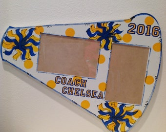 Cheerleader megaphone frame personalized, cheer, picture frame