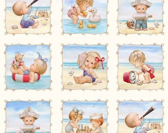 Cream Beach Kids Panel with 6in Blocks  Cotton Fabric Panel 4123-CRE Elizabeth Studio