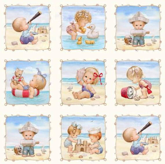 Items similar to cream beach kids panel with 6in blocks for Children s fabric panels