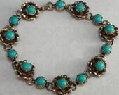Southwestern Turquoise Sterling Silver Glass Flower Bracelet