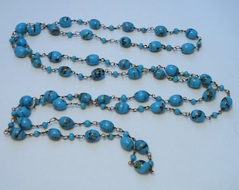 Czech Art Glass Bead Necklace Long Vintage One