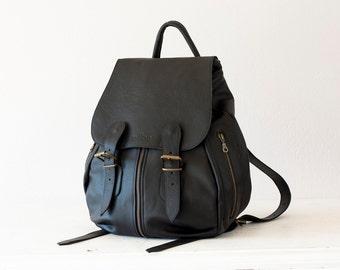 Black leather backpack for women, travel backpack back bag daypack knapsack everyday large  - Artemis backpack