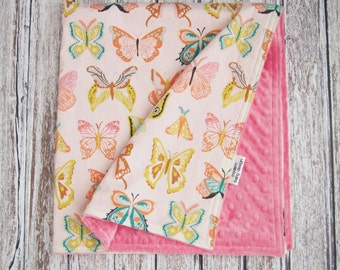 Butterfly Baby Blanket, Baby Girl Minky Baby Blanket, Pink Minky Baby Blanket