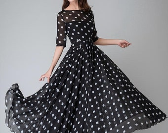 polka dot dress, prom dress, Black white dress, Chiffon dress, Women dresses, maxi dress, maxi dress with sleeves, boat neck dress (1534)