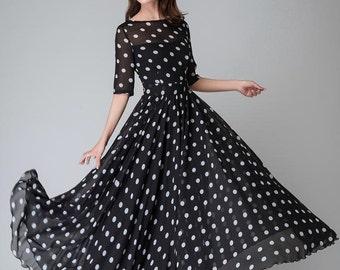 polka dot dress, prom dress, Black white dress, Chiffon dress, Women dresses, maxi dress, maxi dress with sleeves, boat neck dress (1534)