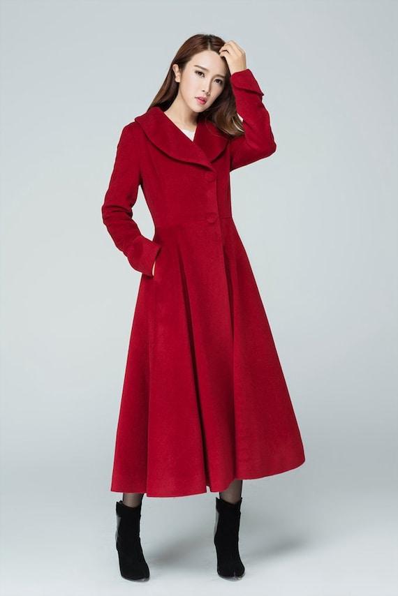 Items similar to red coat, wool coat, long coat, winter ...