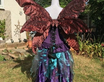 Triple Halloween red/black/ silver layed fantasy adult fairy wings.