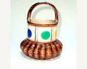 VALENTINES SALE Vintage Estate Collection Czecho Slovakia Painted Procelain Basket Thirties   I Take Credit Cards