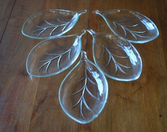 vintage set of five clear glass leaf shaped condiment dishes - mid century - minimalist - modern