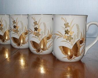 Four Otagiri Butterfly Foil Mugs - cho cho pattern - 1970's - Japan - Retro - Woodland