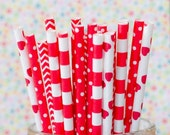 Red & White Paper Party Straws, Pack of 25