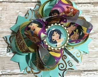 Jasmine Hair Bow, Aladdin, Disney Inspired, Princess Bow, Newborn Headband, Infant Headband, Baby Headband, Birthday Bows, Halloween