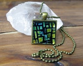 Metallic Sea Stepping Stones, Square Glass Necklace, Dichroic Jewelry, Dichroic Pendant, Fused Glass Jewelry, Antique Gold Plated Neckalce