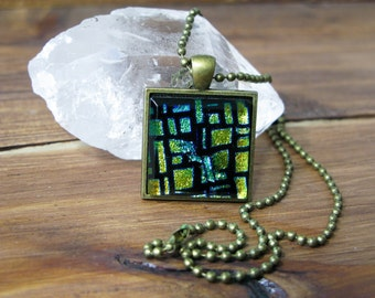 SALE, gift for her, statement necklace, pendant necklace, gifts under 25, dichroic glass, square necklace, colourful jewelry, art glass